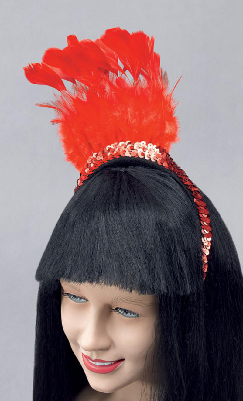 Ladies Red Feather Sequin Headpiece Headband Charleston Flapper Fancy Dress