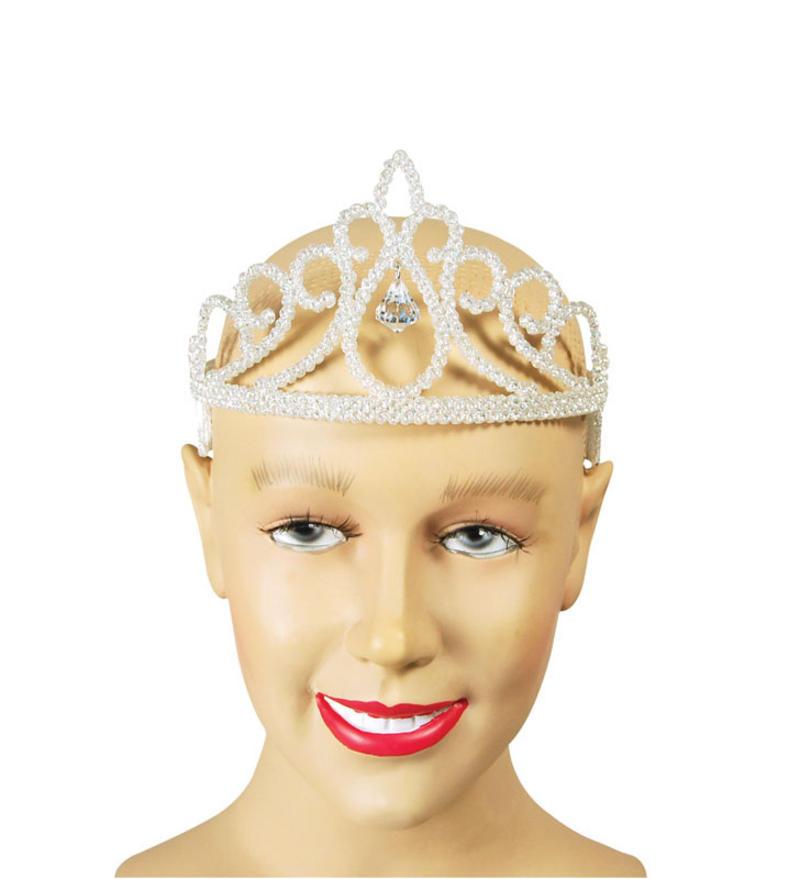 White Glitter  & Diamond Tiara - Fairy Princess Fancy Dress