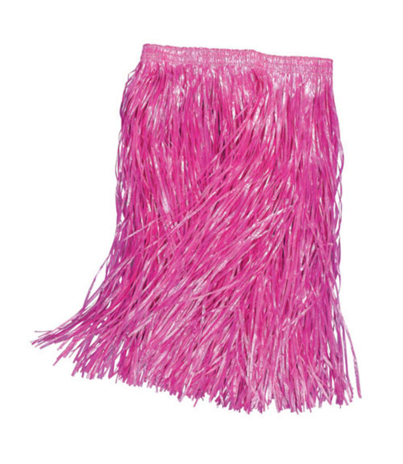 Adult Grass Skirt Hula Girl Pink 55Cm Long Hawaiian Fancy Dress