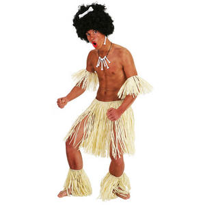5 Piece Zulu Fancy Dress Set Outfit Costume Ankle , Wrist And Waist Grass Skirt