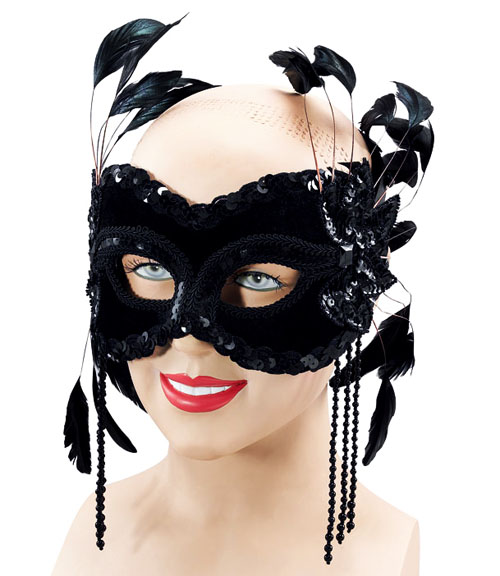 Black Velvet Mask & Feathers Masquerade Ball Fancy Dress