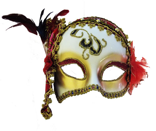 Charleston Style Mask With Red Decoration Masquerade Fancy Dress