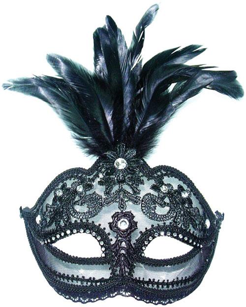 Black Transparent Feather Mask Masquerade Fancy Dress