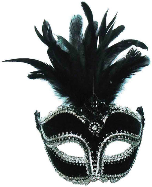 Black Velvet Mask With Tall Feather Masquerade Ball Fancy Dress