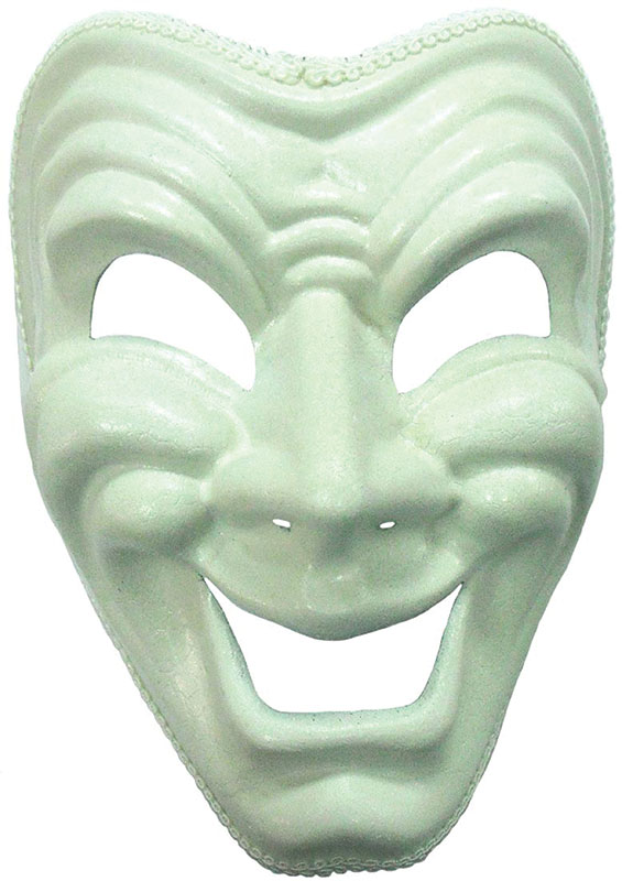 Theatrical Mask White Happy Face Masquerade Fancy Dress
