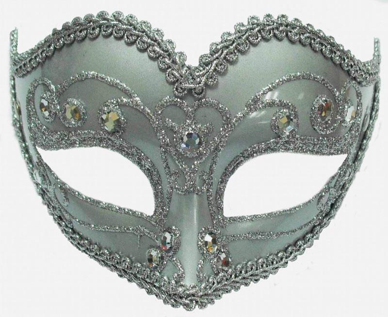 Silver Jewelled Party Mask Fancy Dress