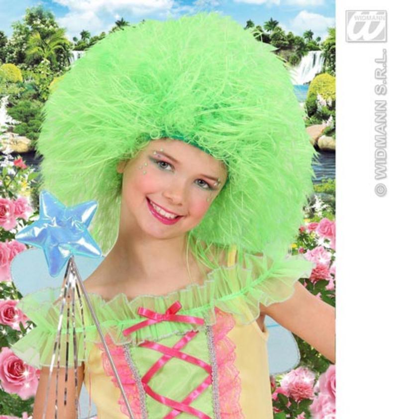 Neon Green Childrens Afro Wig Fairy Tale Troll Elf Fancy Dress Kids