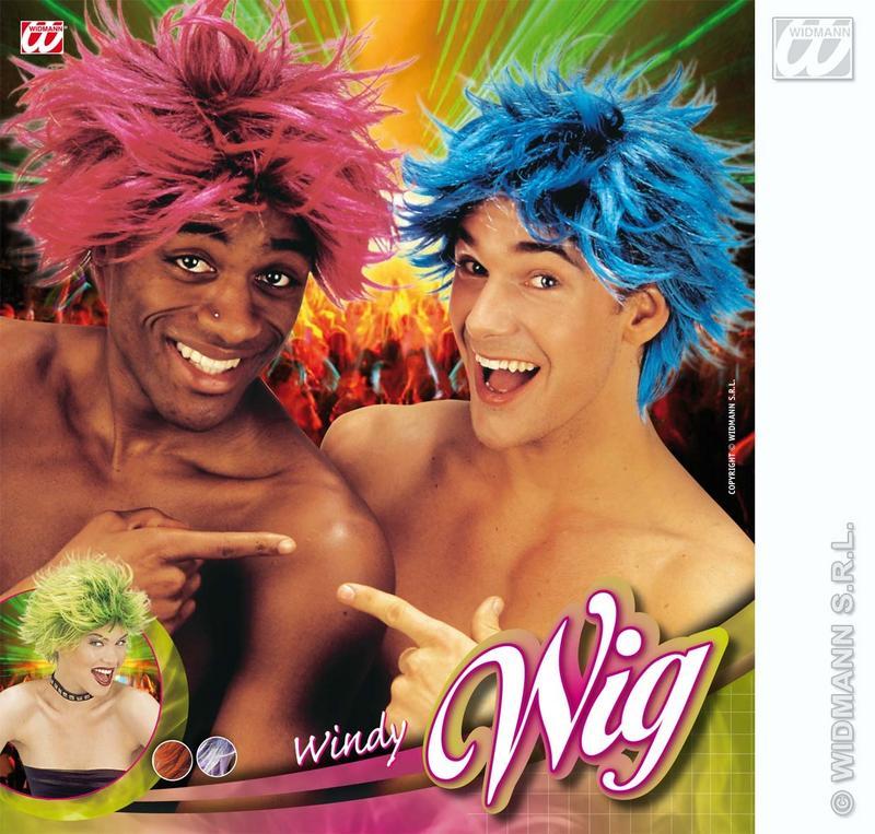 Neon Orange And Black Wig Unisex Wind Swept Nu Rave Fancy Dress