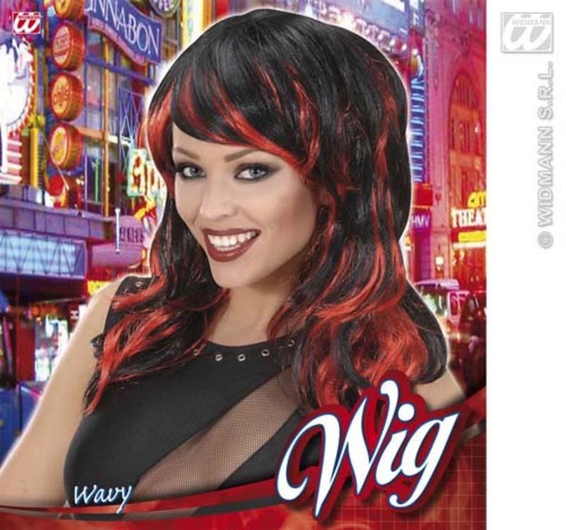 Long Black Red Wig Sexy Temptress Vampiress Halloween Fancy Dress