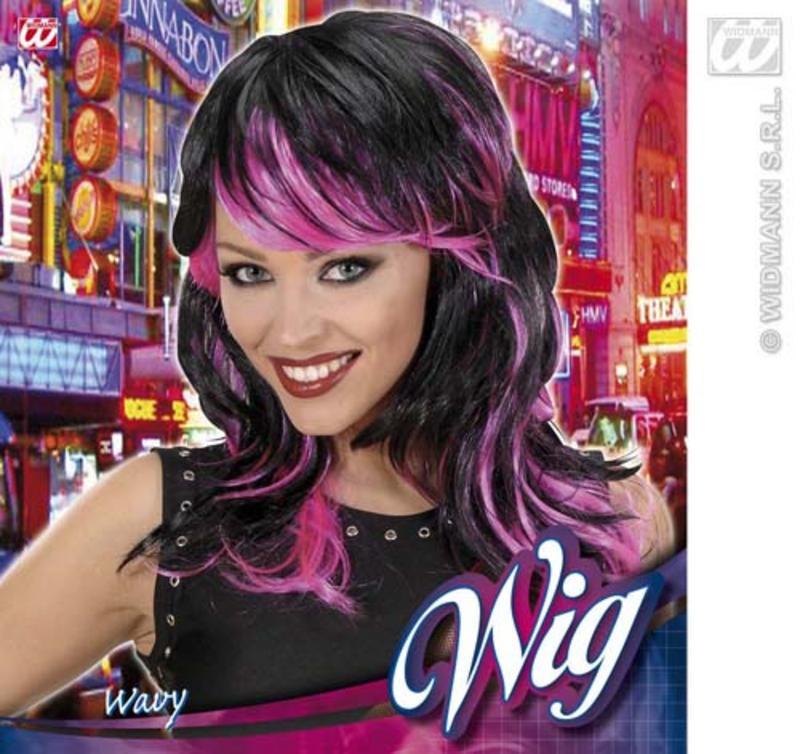 Long Black Pink Wig Sexy Temptress Vampiress Halloween Fancy Dress