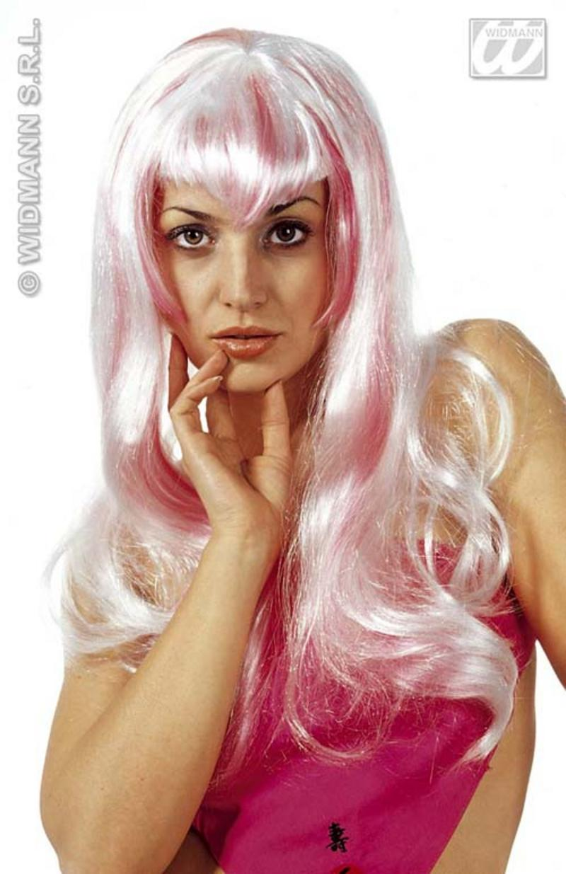 Long Neon Pink & White Wig Space Girl Cyber Fancy Dress School Disco Sexy