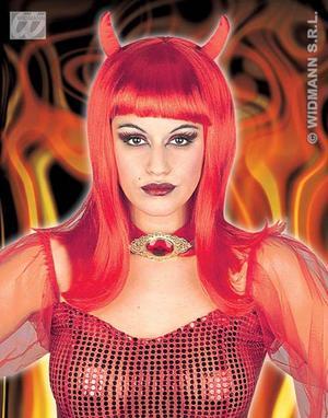 Long Red Wig With Horns Devil Vampiress Halloween Fancy Dress