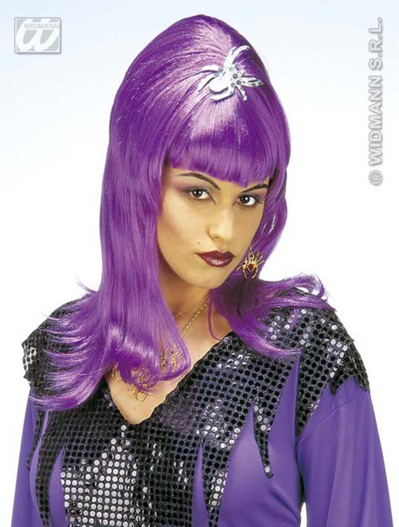 Long Purple Wig Spider Lady Witch Halloween Fancy Dress