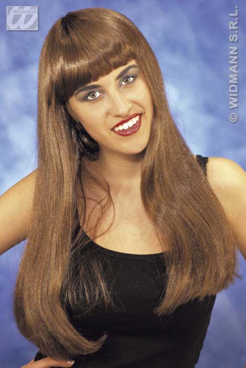 Long Brown Wig With Fringe Pop Star Celebrity Halloween Fancy Dress