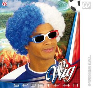 Blue & White Afro Wig French Scottish Football Rugby Fancy Dress