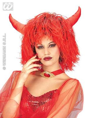 Large Red Black Wig With Horns Devil Halloween Fancy Dress