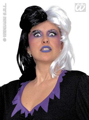 Black & White Cruella Deville Wig 101 Dalmations Halloween Fancy Dress