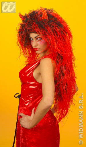 Extra Long Red Black Wig With Horns Red Devil Halloween Fancy Dress