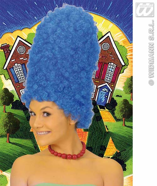 Ladies Tall Blue Beehive Wig Marge Simpson Pantomime Dame Fancy Dress Ebay