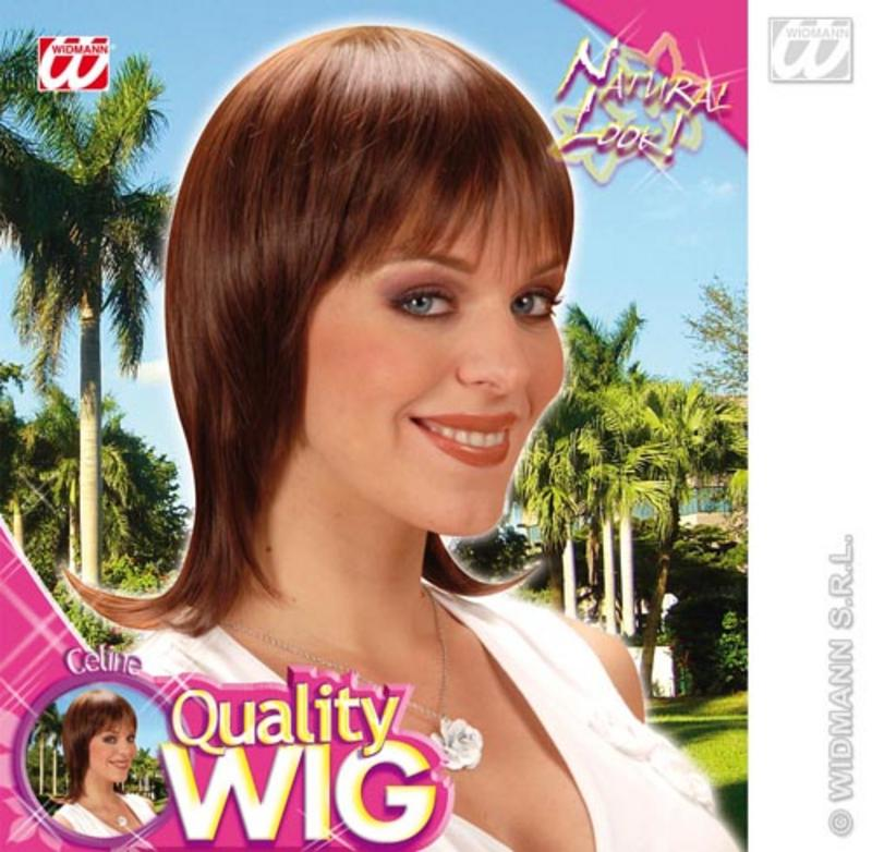 Ladies Smooth Brown Bob Wig With Fringe French Style Celebrity Fancy Dress
