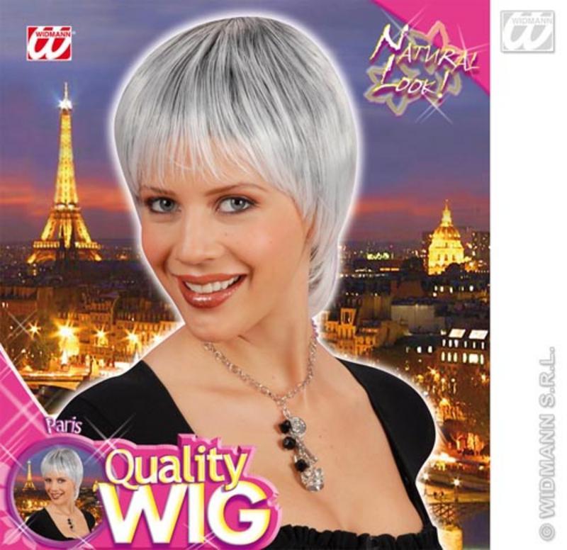 Ladies Short White Black Wig With Fringe Cyber Model Lady Gaga Fancy Dress