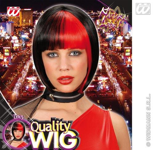 Ladies Black Bob Wig With Red Streak Devil Goth Emo Halloween Fancy Dress