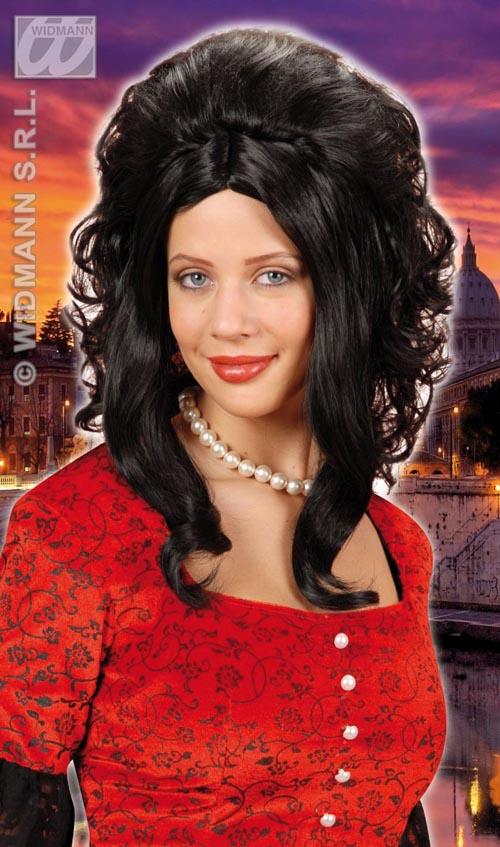 Ladies Long Curly Black Wig Catherine Zeta Jones Celebrity Fancy Dress