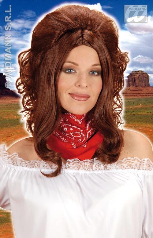 Details About Ladies Brown Curly Wig Cowgirl Pop Star Saloon Girl Western Fancy Dress