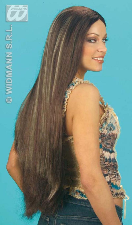 Ladies Extra Long Brown Wig With Blonde Streaks American Cheerleader Fancy Dress