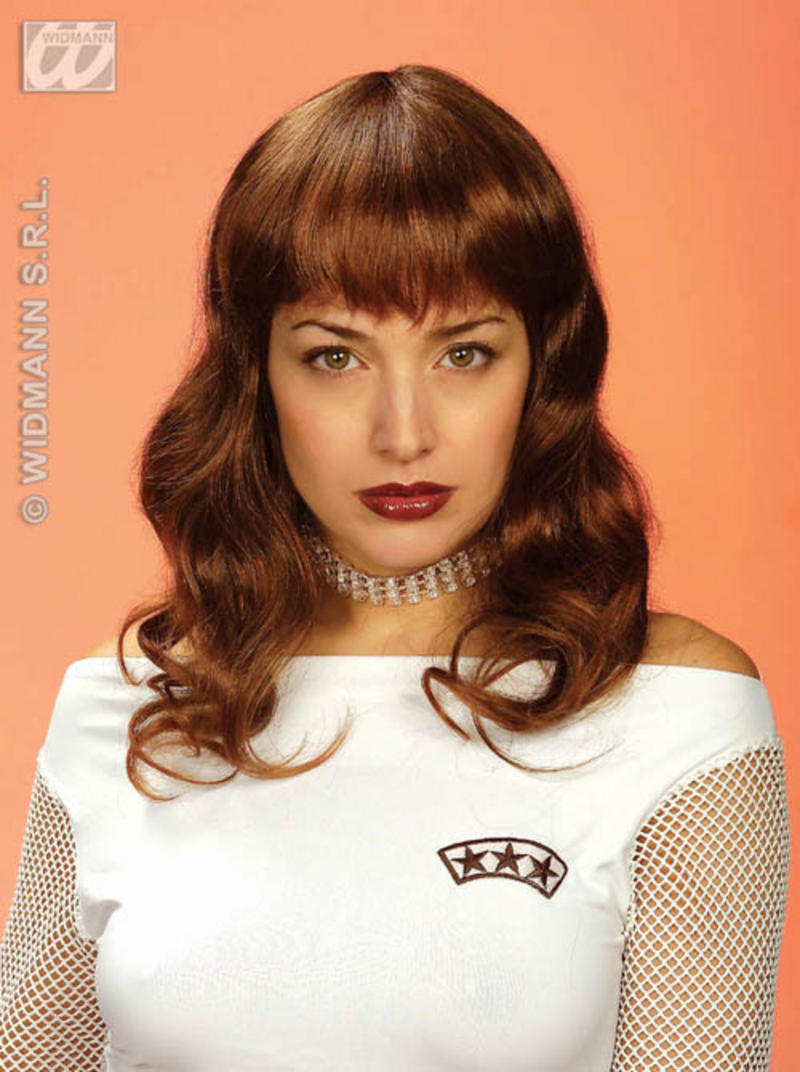Ladies Long Brown Wavey Wig With Fringe Housewife Pop Star Fancy Dress