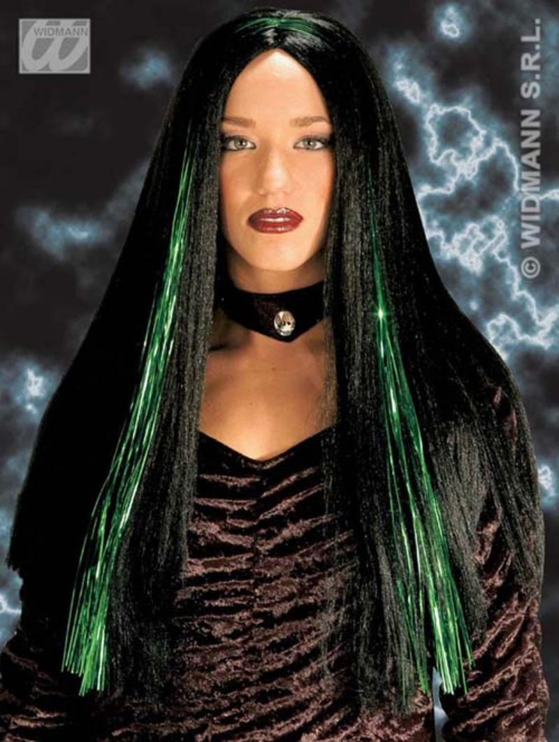Ladies Long Black Wig With Green Strips Witch Halloween Fancy Dress