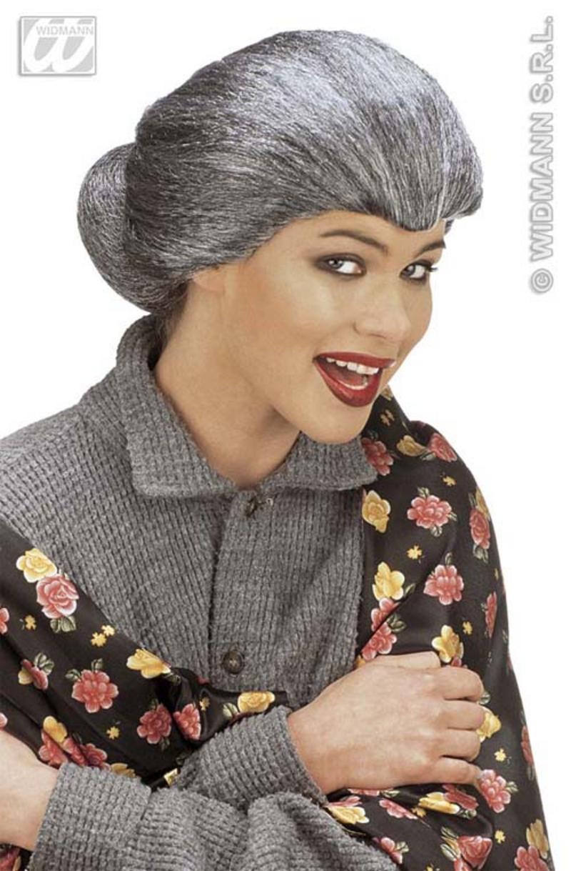 Ladies Old Woman Grey Wig With Bun Granny Nan Grandma Fancy Dress