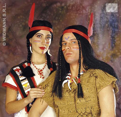 Mens Indian Wig Red Indian Cowboys Fancy Dress