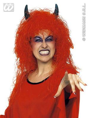 Red Devil Wig With Black Horns Halloween Satan Fancy Dress