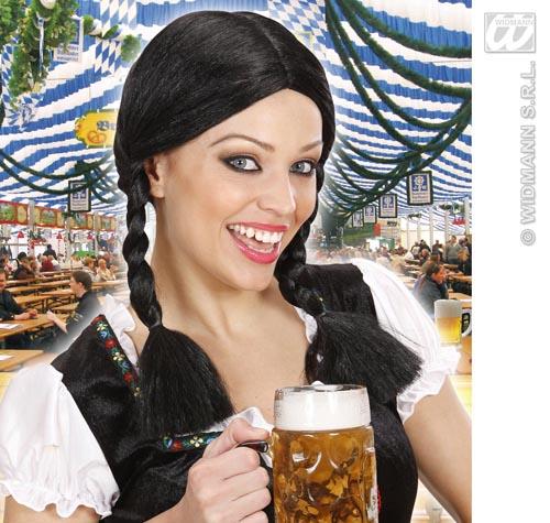 Ladies Black Bunches Wig German Waitress Bar Maid Heide Fancy Dress