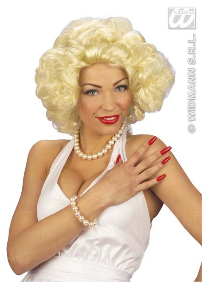 Ladies Blonde Marilyn 50s Star Wig Hollywood Movie Fancy Dress