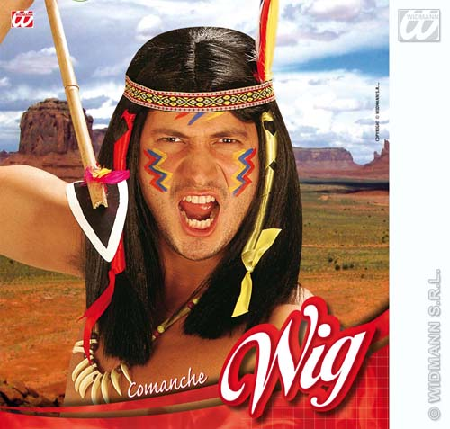 Mens Black Indian Wig With Decorations Red Indian Fancy Dress
