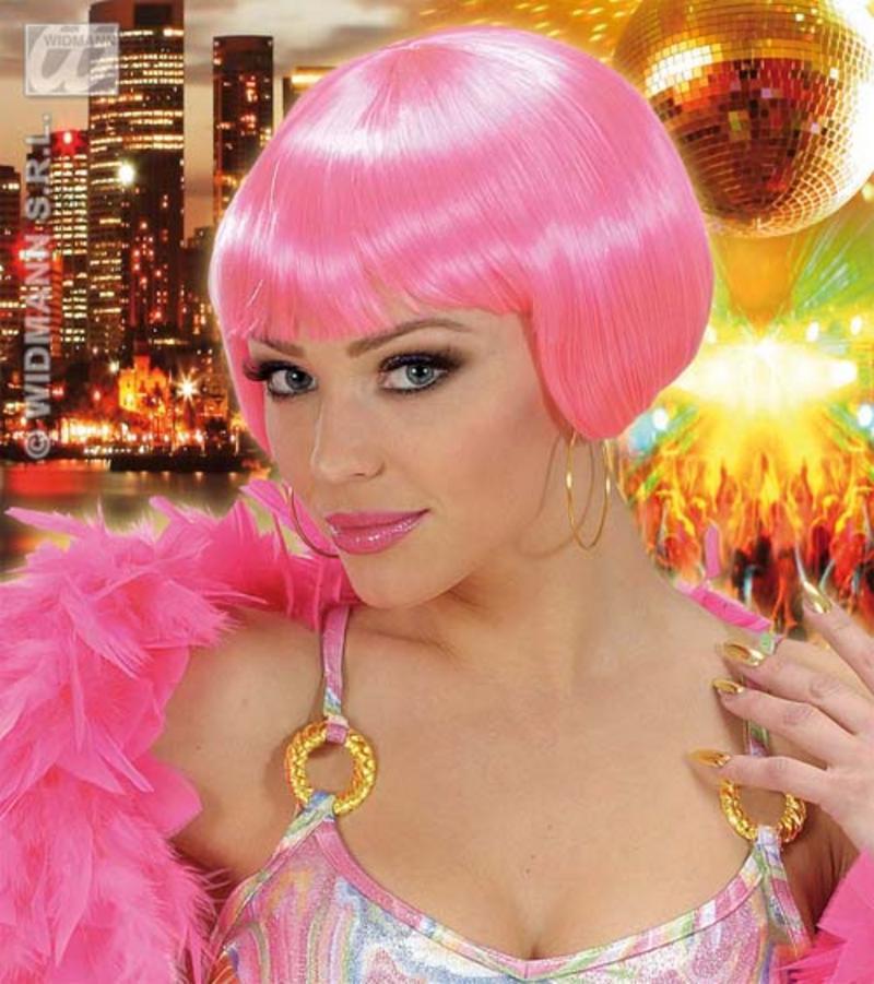 Ladies Neon Pink Wig With Fringe Cyber Nu Rave Festival Fancy Dress