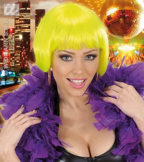 Ladies Neon Yellow Bob Wig Nu Rave Festival Disco Diva Fancy Dress