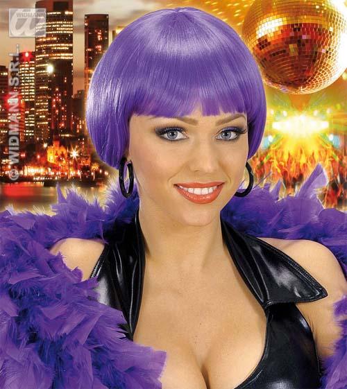 Ladies Dark Purple Bob Wig Nu Rave Festival Disco Diva Fancy Dress