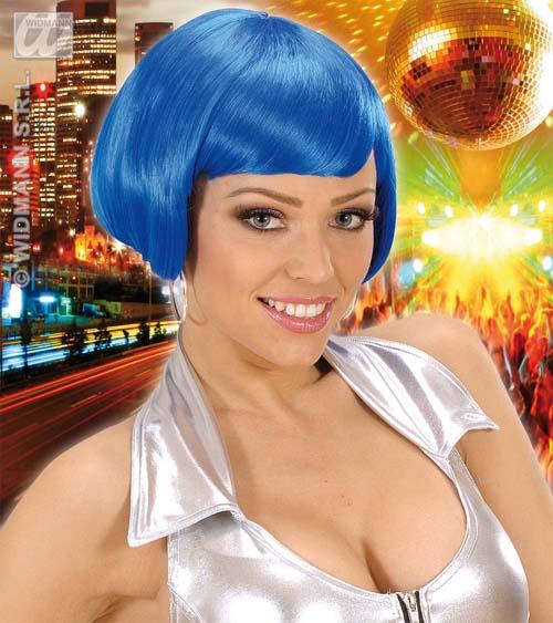 Ladies Midnight Blue Bob Wig Nu Rave Festival Disco Diva Fancy Dress
