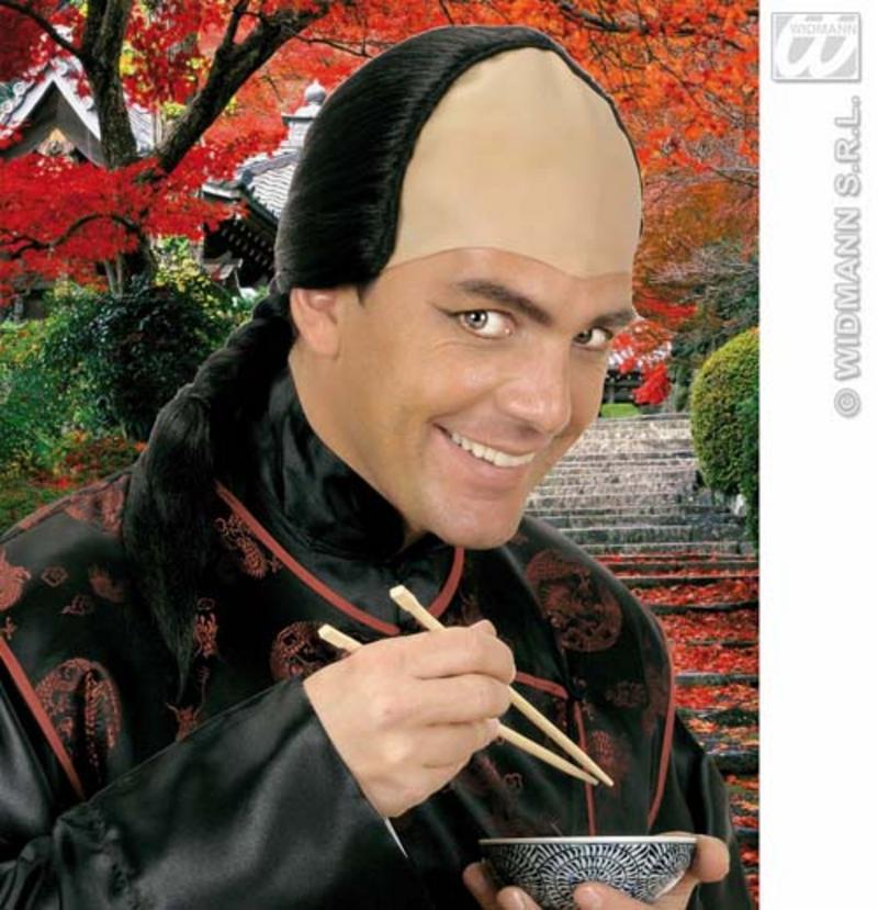 Mens Black Bald Wig With Black Plait Chinese Samurai Warrior Fancy Dress