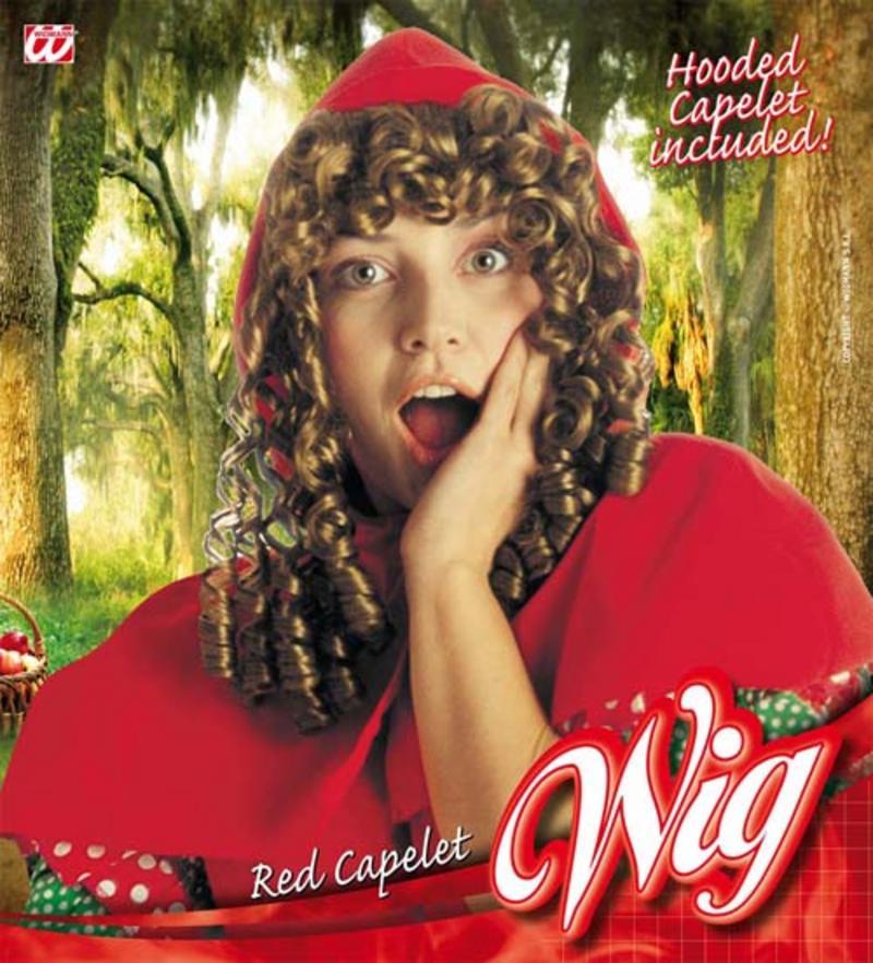 Ladies Little Red Riding Hood Wig & Hood Fairy Tale Fancy Dress