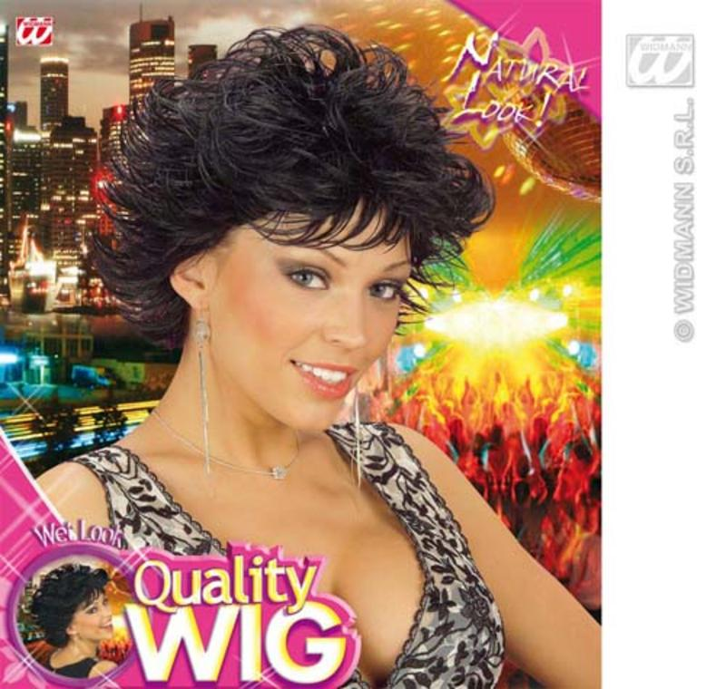 Ladies Black Spikey Wig Wet Look 80'S Disco Diva Fancy Dress