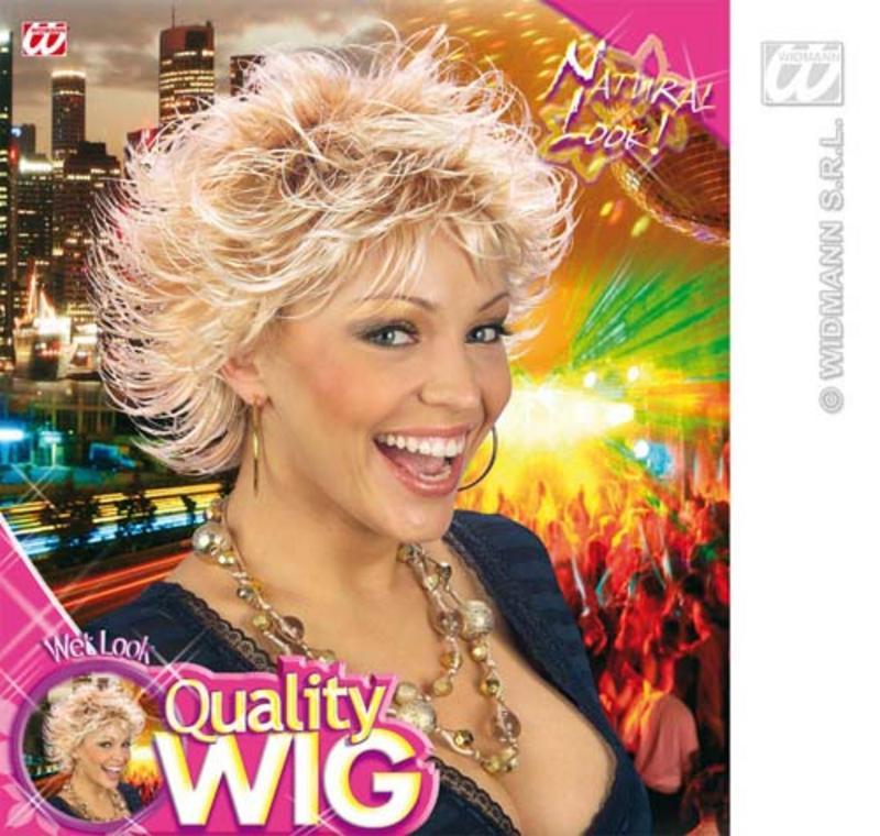 Ladies Bonde Spikey Wig Wet Look 80'S Disco Diva Fancy Dress