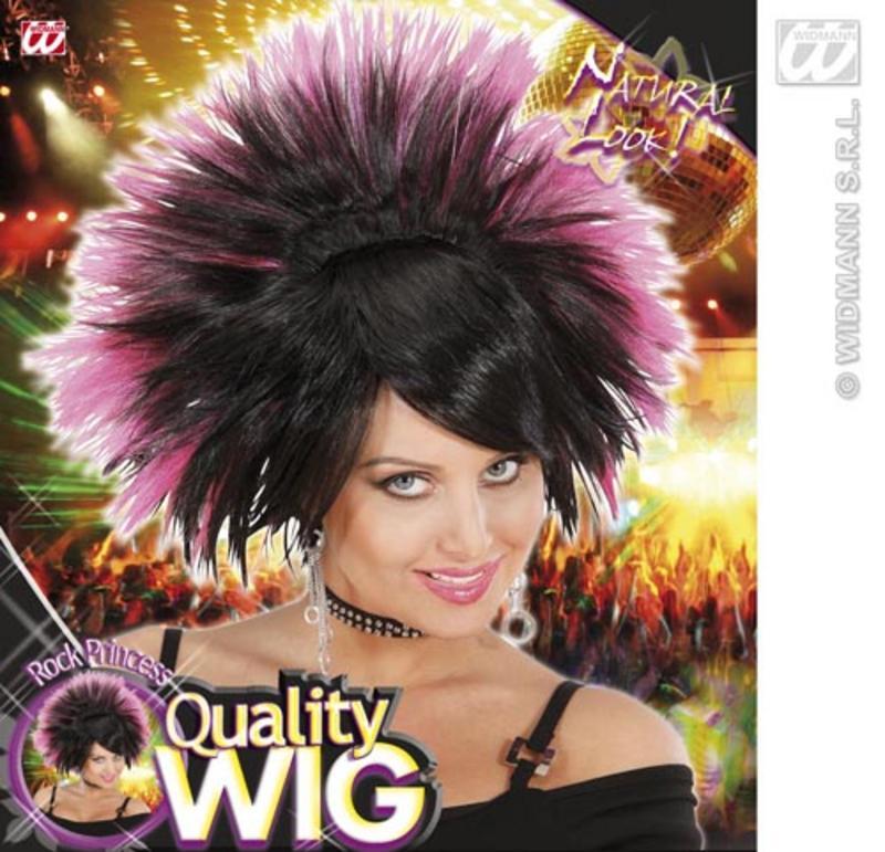 Black Pink Spikey Wig Rock Princess Goth Emo Nu Rave Fancy Dress