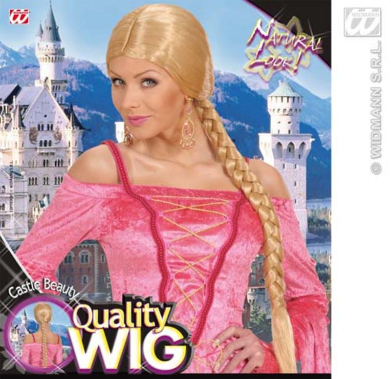 Ladies Blonde Wig With Long Plait Lara Croft Fairy Tale Fancy Dress
