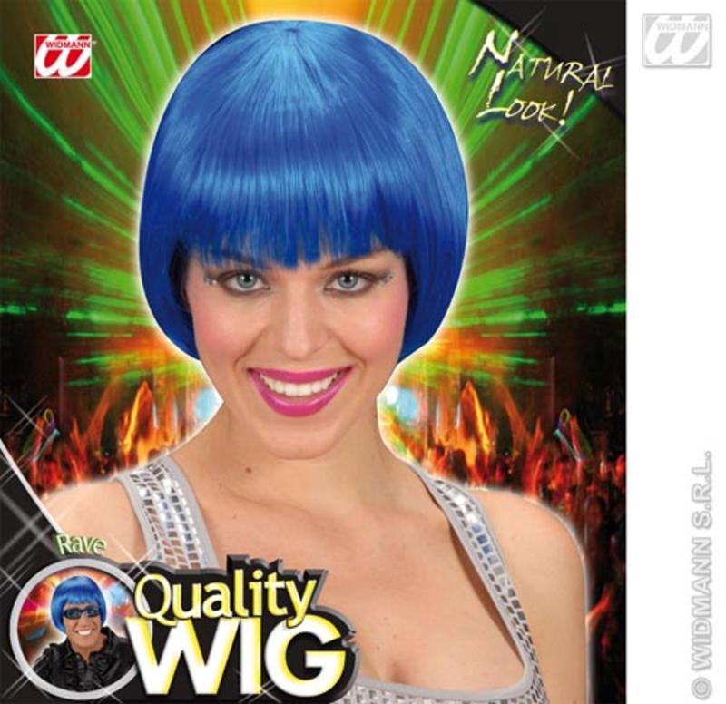 Neon Blue Bob Wig With Fringe Nu Rave Emo Festival Fancy Dress