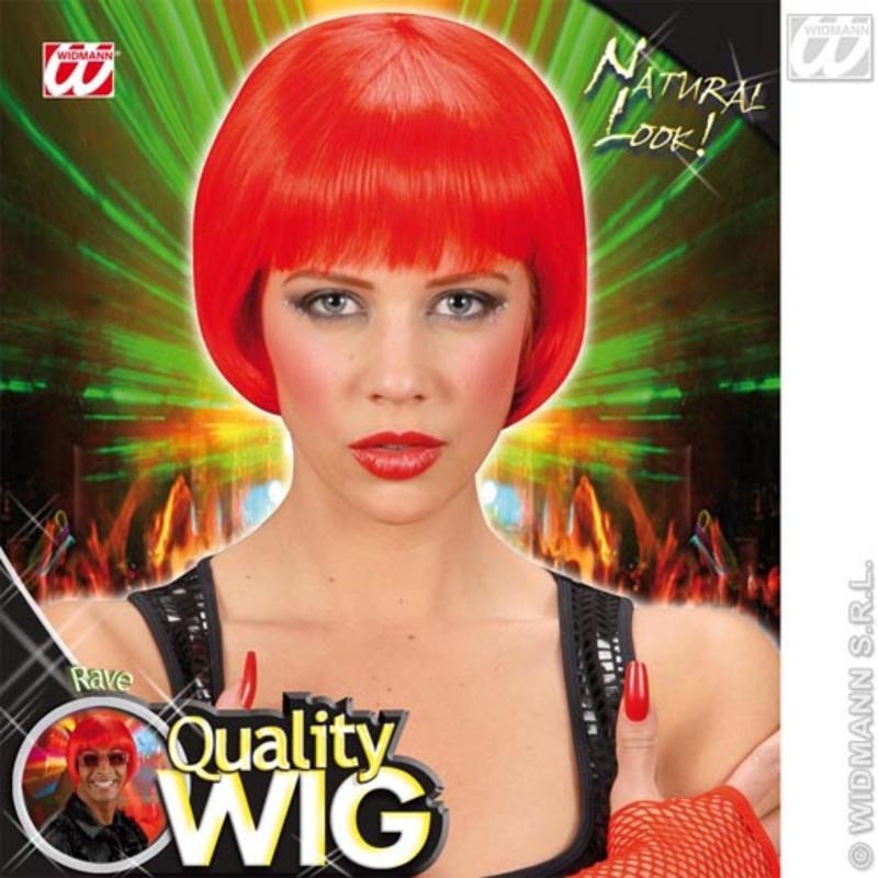 Neon Red Bob Wig With Fringe Nu Rave Emo Festival Fancy Dress