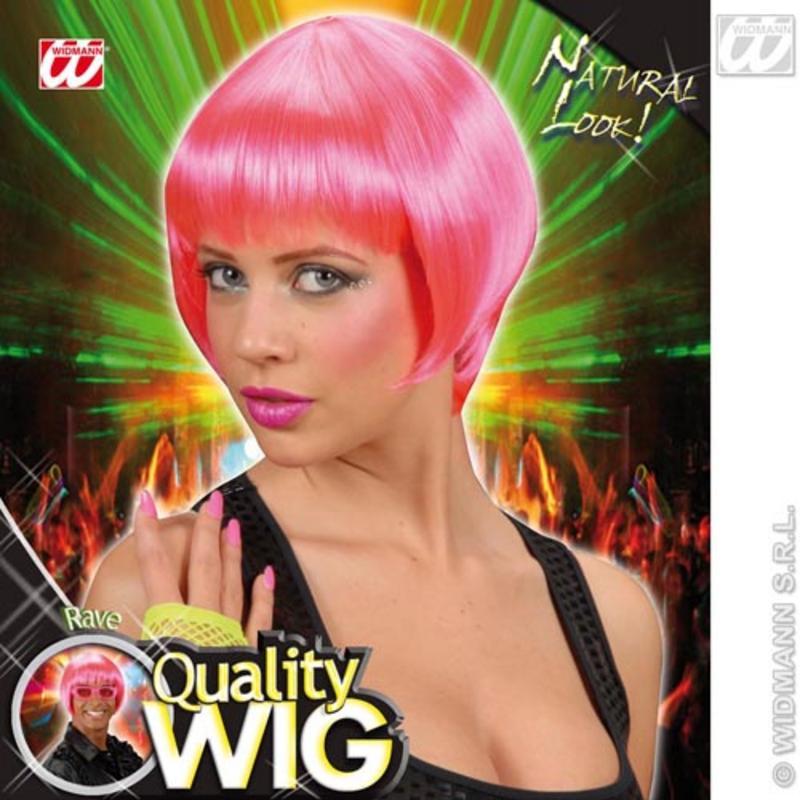 Neon Pink Bob Wig With Fringe Nu Rave Emo Festival Fancy Dress
